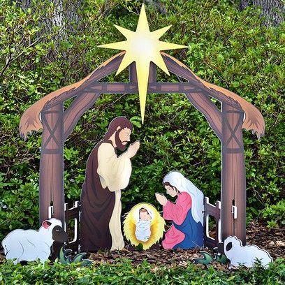 Holy Night Printed Outdoor Nativity Set | Yard nativity ...