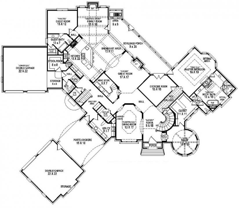 654277 4 bedroom 45 bath house plan house plans floor plans - 5500 Square Foot House Plans