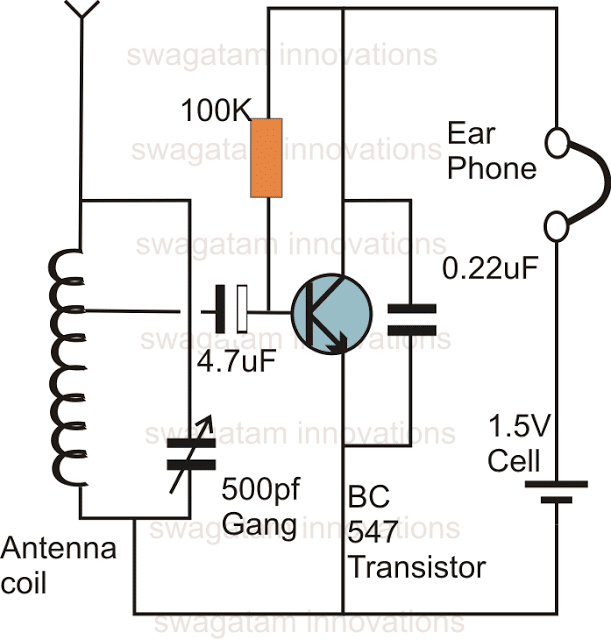 single transistor radio receiver circuit  with images