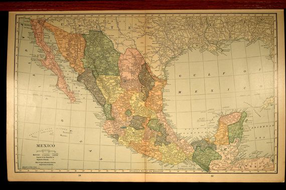 Large Map Mexico 1930 Vintage Original Maps Pinterest Large