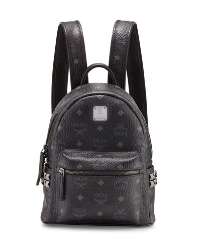 0ec5088319b0 MCM Stark Side-Stud Mini Backpack, Black. #mcm #bags #leather #lining  #canvas #backpacks
