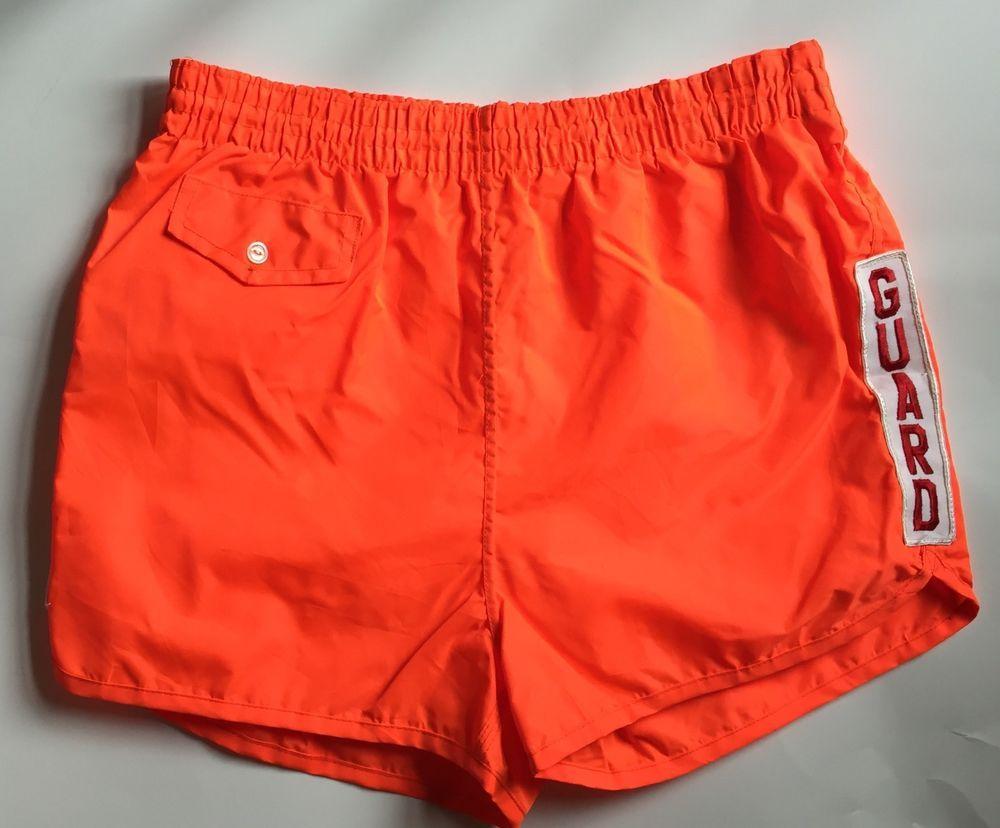 441f16313547 Vintage 60s Ocean Mens Neon Orange Guard Lifeguard Swim Trunks Swimsuit  Shorts M  Ocean
