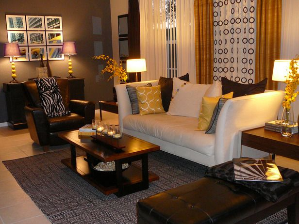 Love The Grey Walls And The Yellow Accents Brown Living Room Gold Home Decor Home