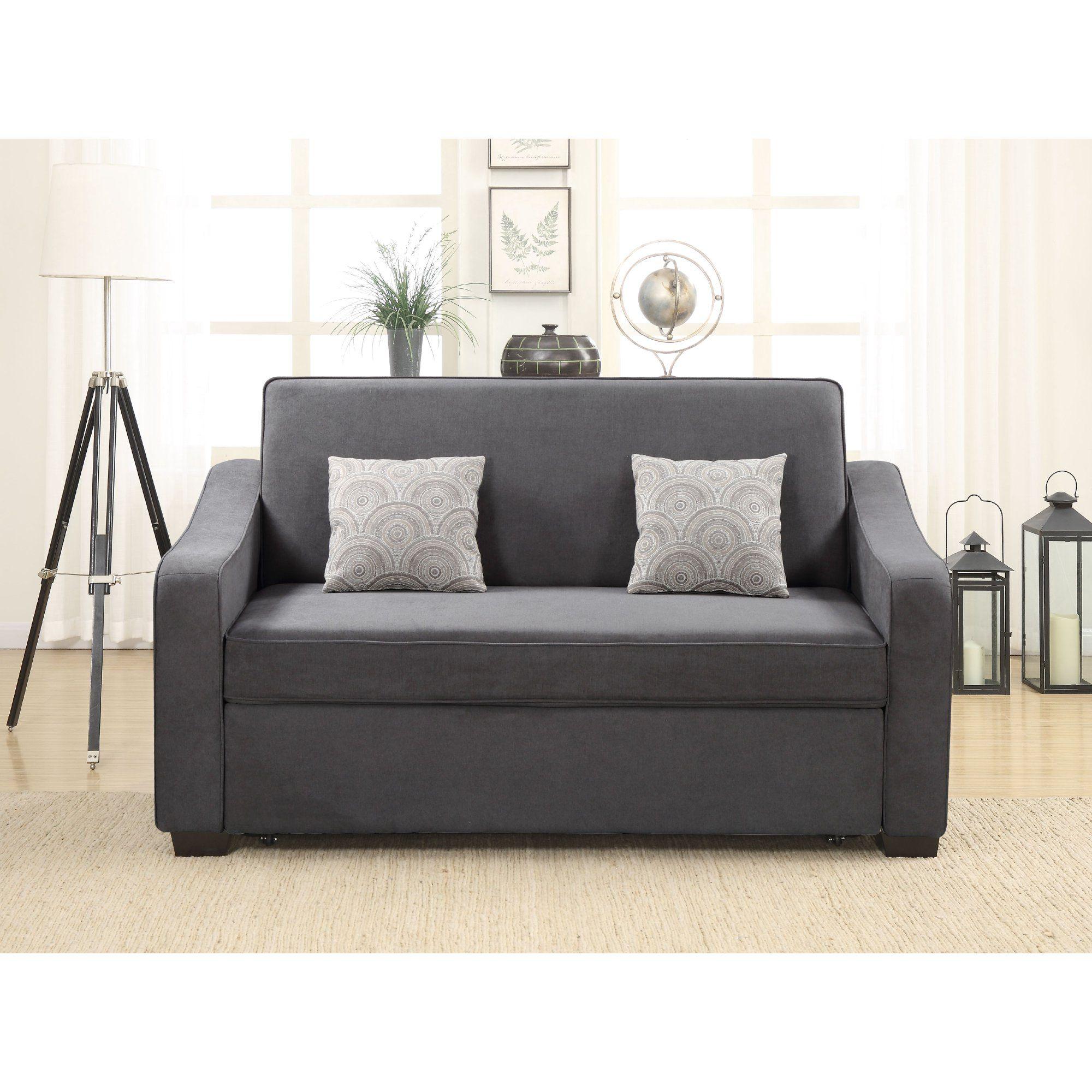 Novogratz Vintage Tufted Split Back Sofa Bed, Gray