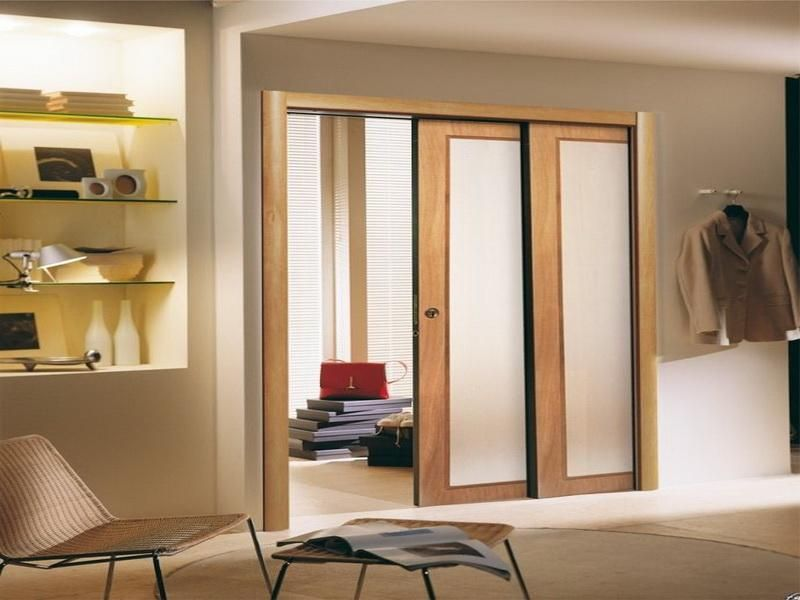 Glass And Wooden Pocket Doors. Interior Sliding ...