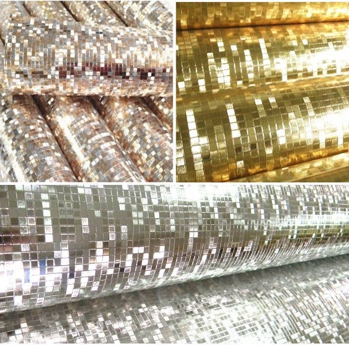Kitchen Tiles On A Roll silver gold metallic luxury sparkle glitter wallpaper roll