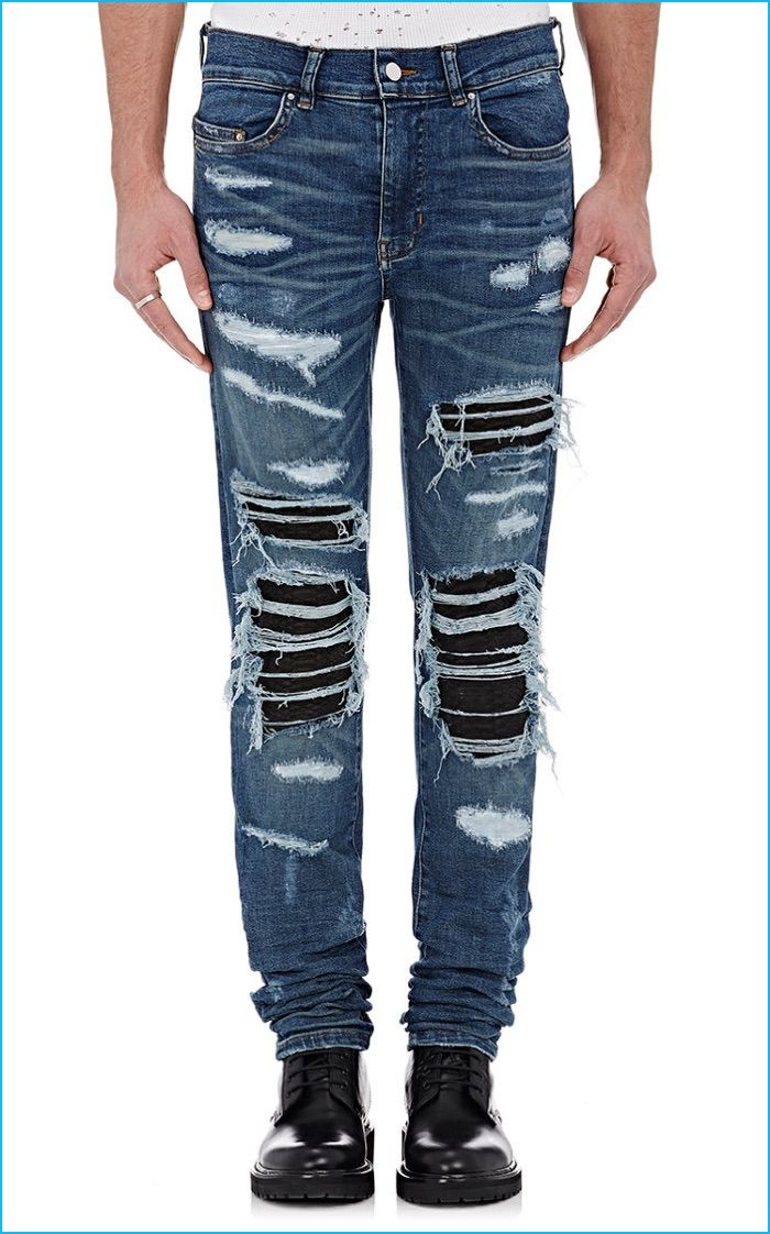 AMIRI Leather Inset Distressed Jeans