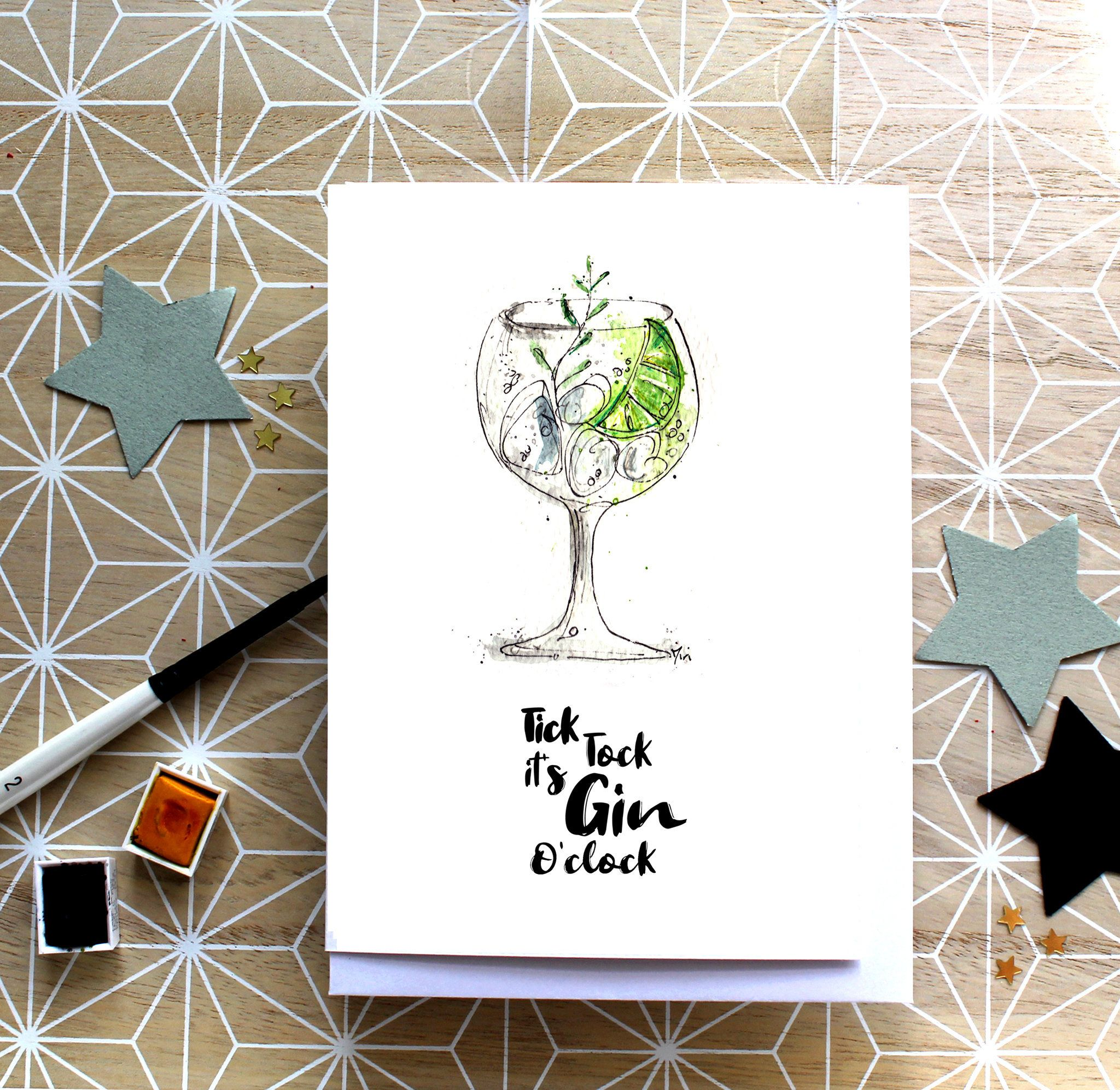 Gin And Tonic Card Tick Tock It S Gin O Clock Gin To My Tonic Card Watercolour Gin And Tonic Funny Card Gin And Tonic Birthday Card Tonic Cards Cards Simple Birthday Cards