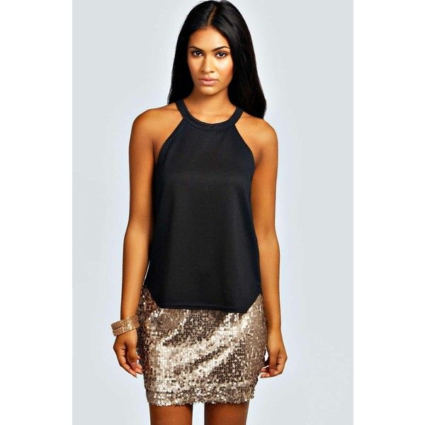 759cfdd1899dc Boohoo Night Tiffany High Neck Strap Top ($16) ❤ liked on Polyvore  featuring tops, black, holiday tops, sheer shirt, strap crop top, shell  crop top and ...