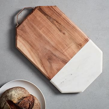 Marble + Wood Cutting Board  Large is part of Wooden Home Accessories Cutting Boards - Our Marble + Wood Cutting Board is a great foundation for cheese plates, charcuterie platters and assorted hors d'oeuvres  The marble surface keeps food cool for hours and the wood accent is great for cutting and slicing