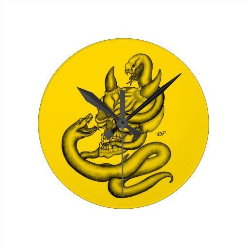 Skull - Devil Head with Snake - Round Wall Clock - NEW by Krisi ArtKSZP on Zazzle
