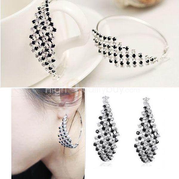 1 par Nuevo #Pendientes Aretes Cristal Negro Blanco Dianmantes Joyería Elegante