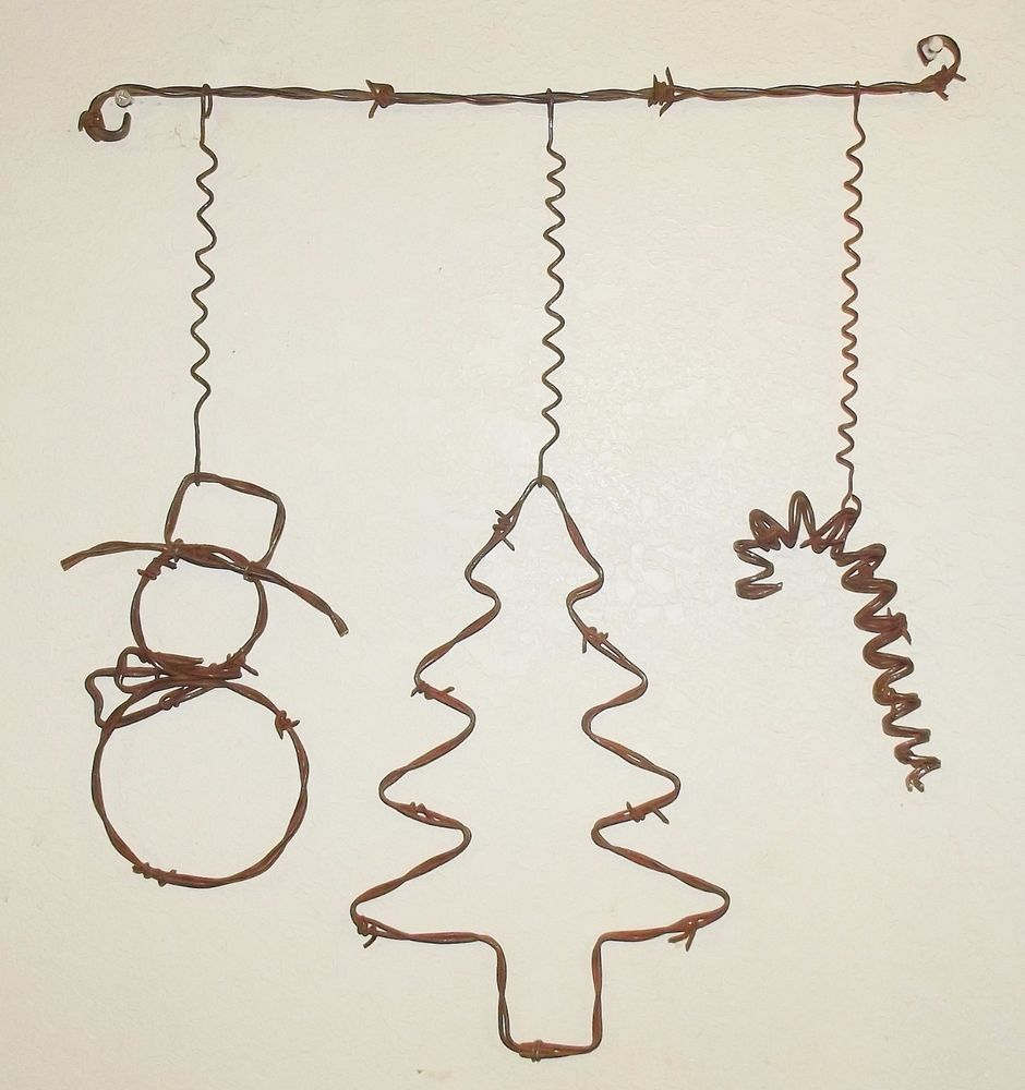 Barbed Wire Christmas Mobile Tree Snowman Rustic Country Prim Wall Art Decor Barb Wire Crafts Wire Crafts Barbed Wire Art
