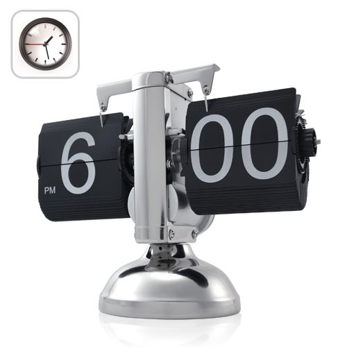 This retro-look clock combines high precision electronics with steam punk design thanks to its exposed workings and gear operated flip swatches. $74.95