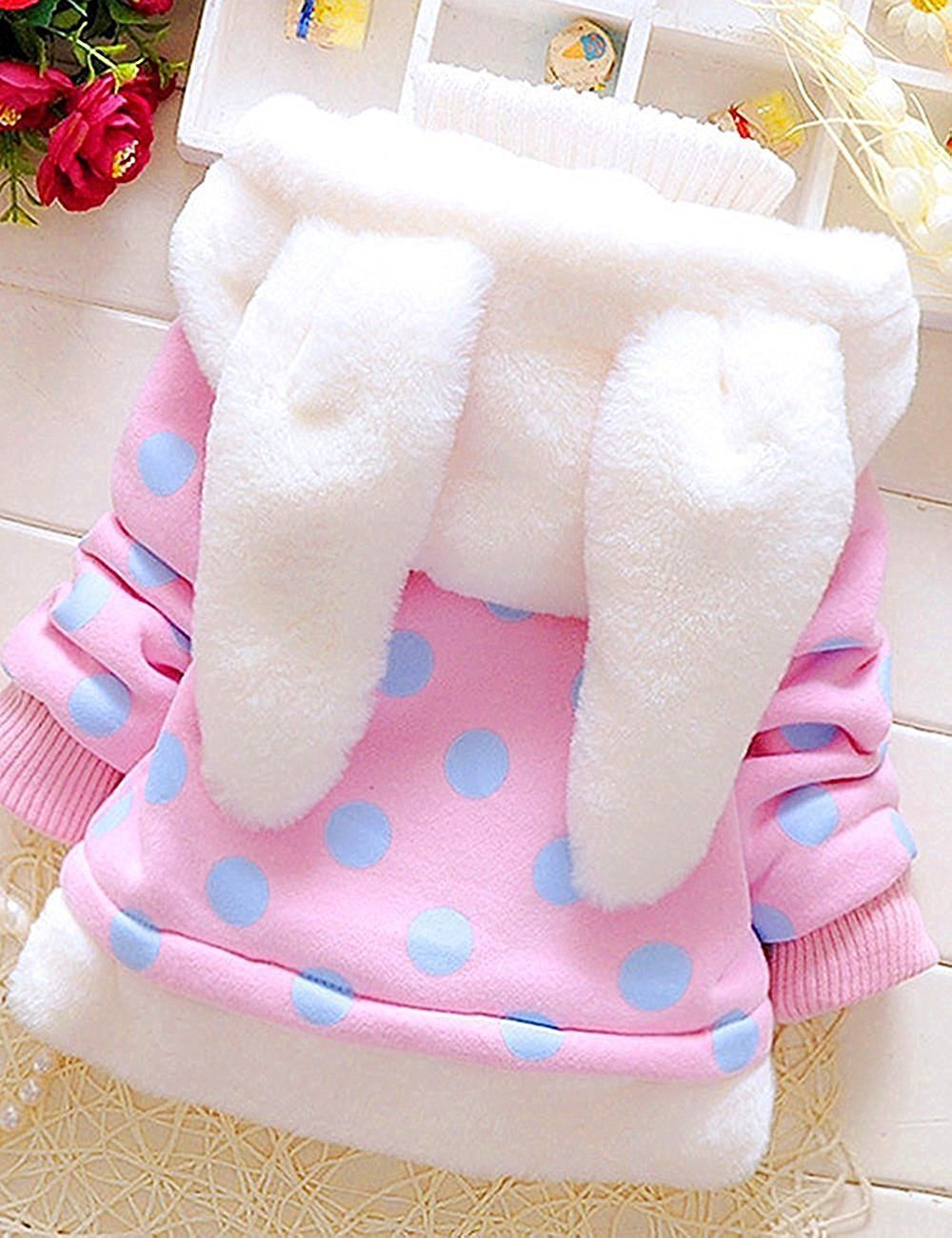 b45e01365fb8 Garsumiss Baby Girl Jacket Thick Winter Hoodie Rabbit Bunny Coat ...