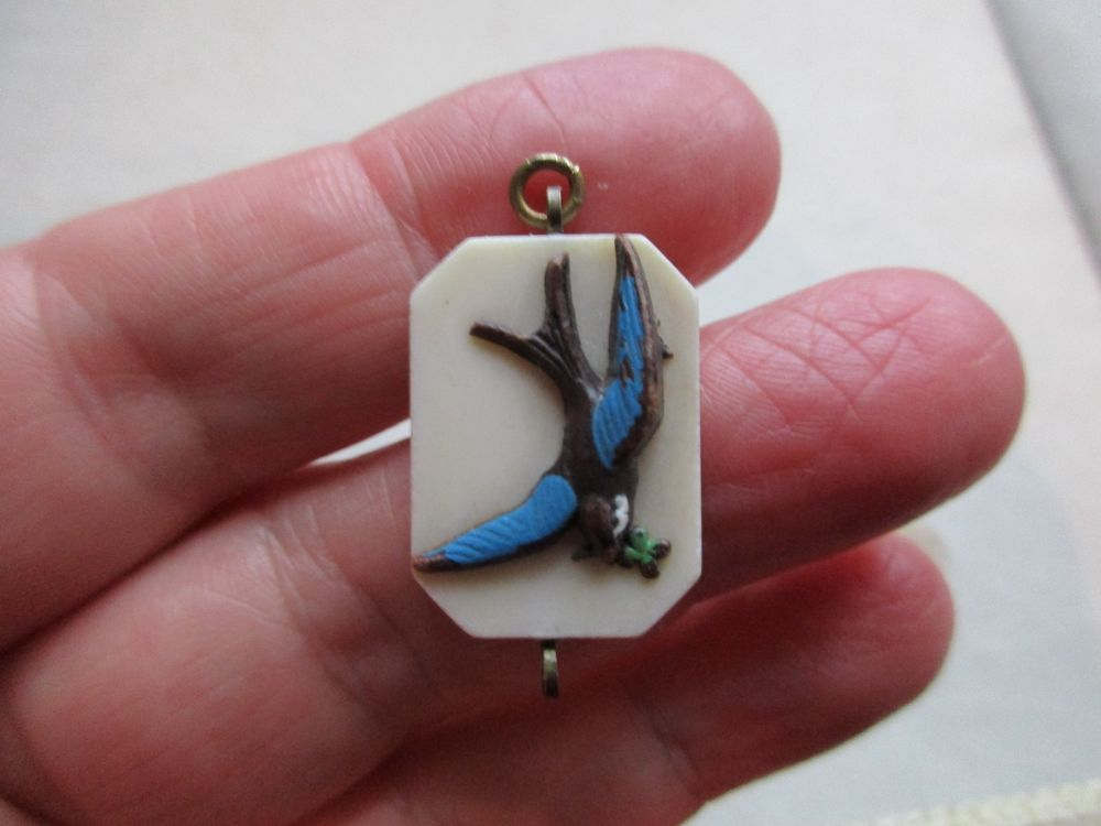 Antique vintage art nouveau deco early plastic swallow bird fob antique vintage art nouveau deco early plastic swallow bird fob charm pendant uk aloadofball Image collections