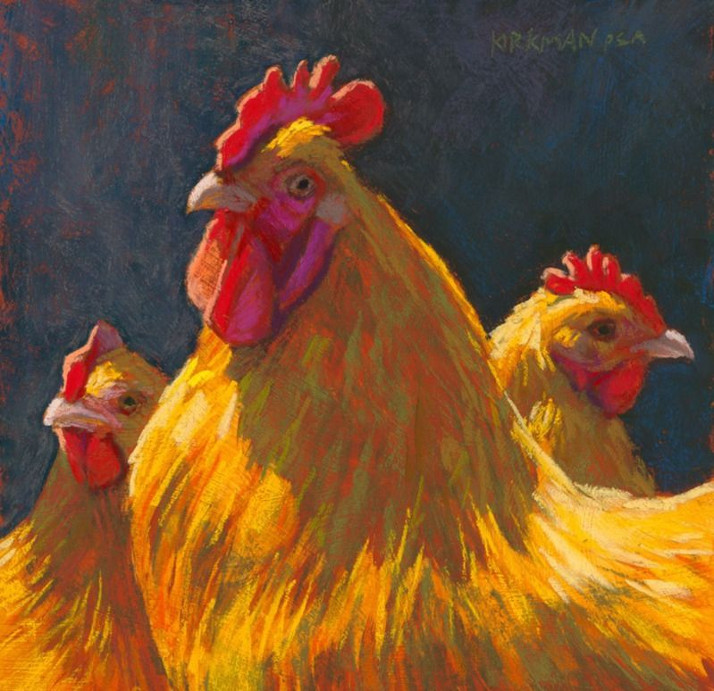 """paintings of roosters and chickens 