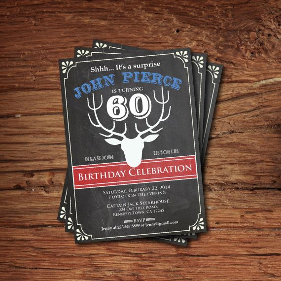 Vintage 60th Birthday Invitation Chalkboard Man Party Invite Retro Alter Deer Printable