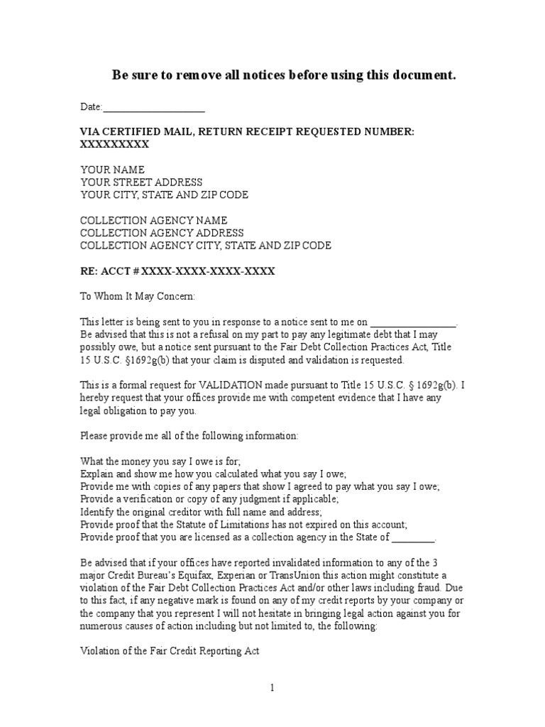 Debt collection letter sample debt validation letter to