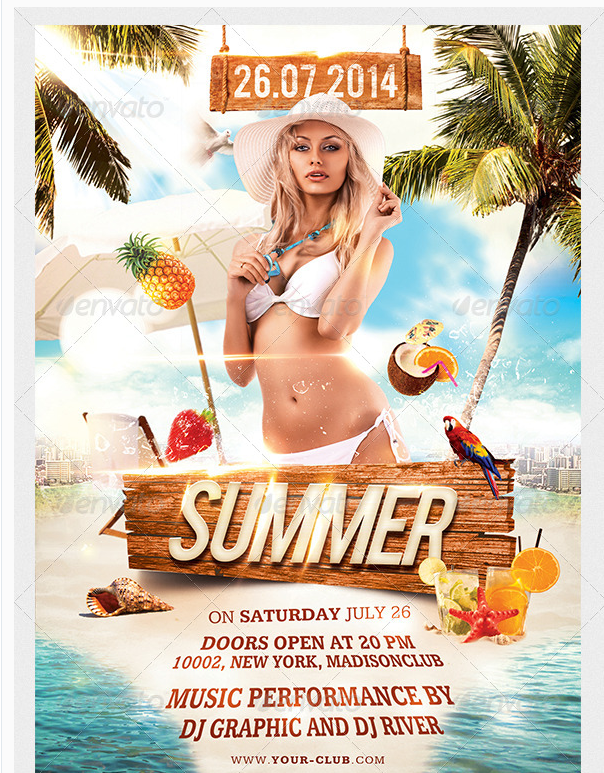Summer Beach Party Flyer Party Flyer Templates For Clubs Business