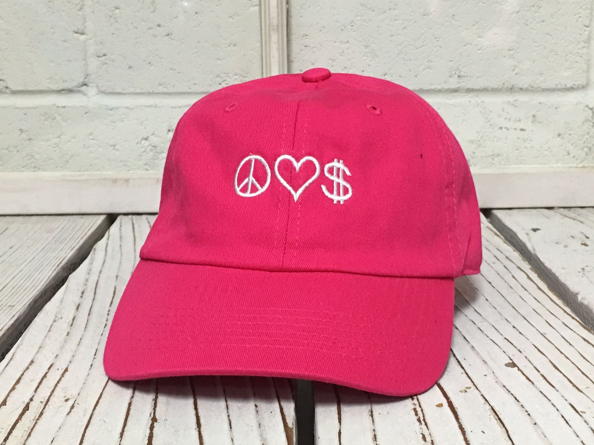 Peace. Love. Money. Embroidered Polo Baseball Caps Low Profile Curved Bill