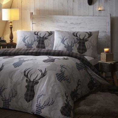 Tartan Cheque Stag Rein Deer Duvet Quilt Cover Double Bedding Bed Set Grey Black Bed Linens Luxury Bedroom Decor Home