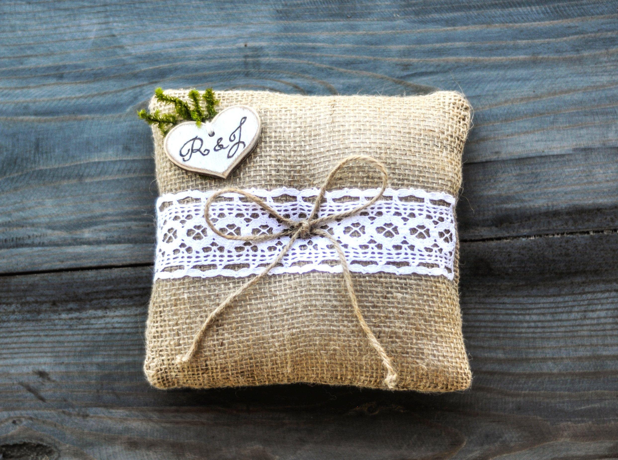Rustic Ring Bearer Pillow Barn Wedding Ring Pillow InitialsMoss