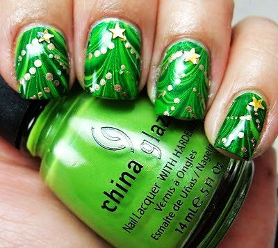Gold Bling Bling Christmas Tree Nail Art Green Christmas Tree Nail