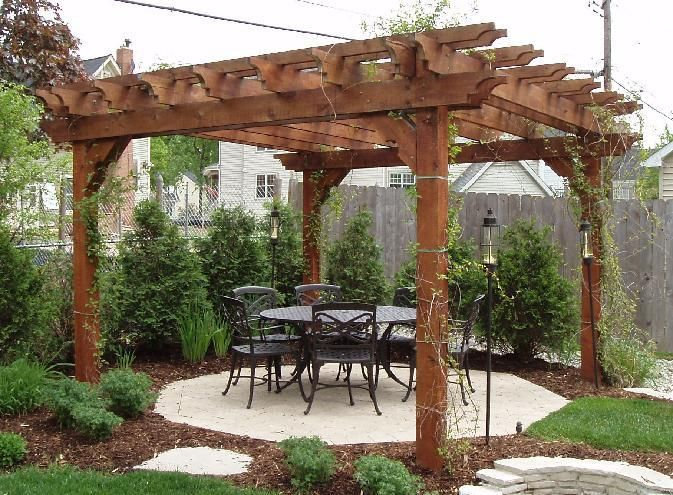pergola - we are in the process of building ours at Lake Anna now. Photos - Like The Idea Of A Corner/triangle Pergola For The Home
