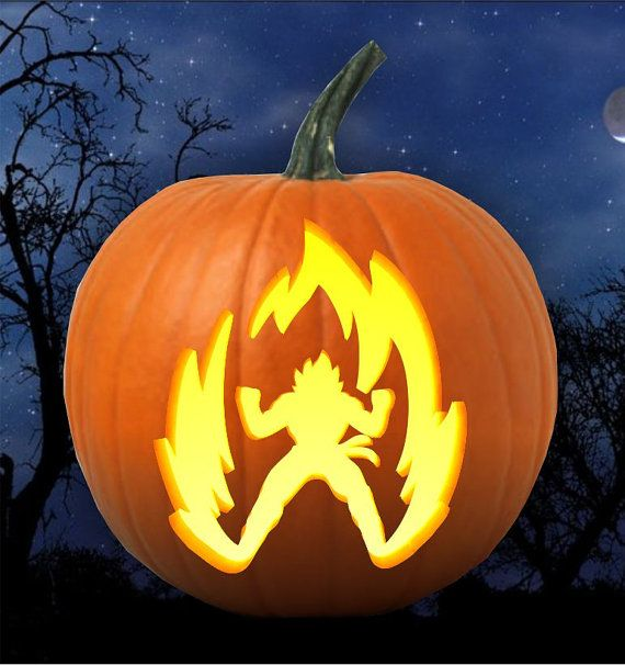 Vegeta Pumpkin Carving: Dragon Ball Z Goku Super Saiyan Ki Pumpkin Carving By