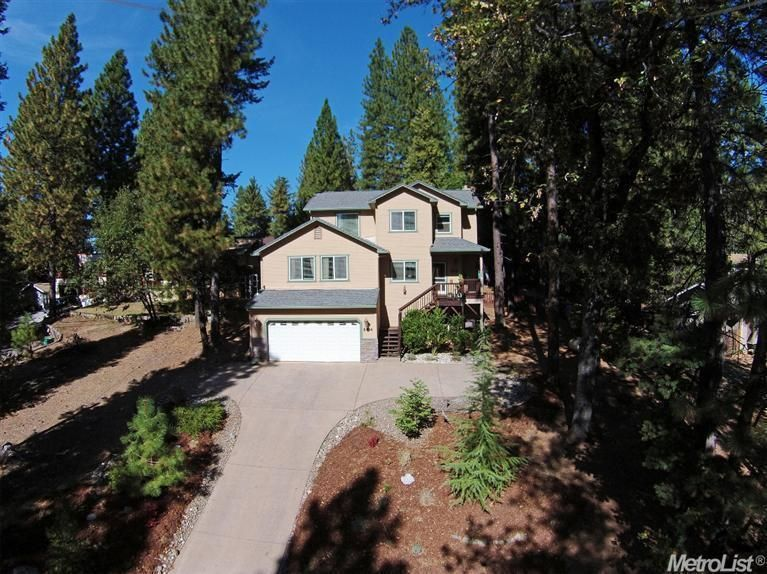 5414 Begonia Dr, Pollock Pines, CA 95726 — Time to Live your Dream of Mountain Living with Style! Seller purchased New in 2005 & added many upgrades! MAIN LEVEL has;Living room W/Wood stove (open to Kitchen)+ Family Rm W/Propane Fireplace, Full bath,& a Formal dining room(you could use as office or hobby room?) Terrific fenced back yard! Upstairs is Spacious Master bedroom W/huge walk in closet- double vanity bath & a private deck which has steps leading to the rear deck. 2 other…