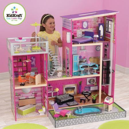Kidkraft Uptown Dollhouse With Furniture Walmart Com Santa S