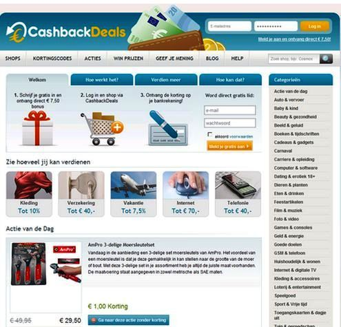 Cashback Deals NL is an interactive cashback CMS developed