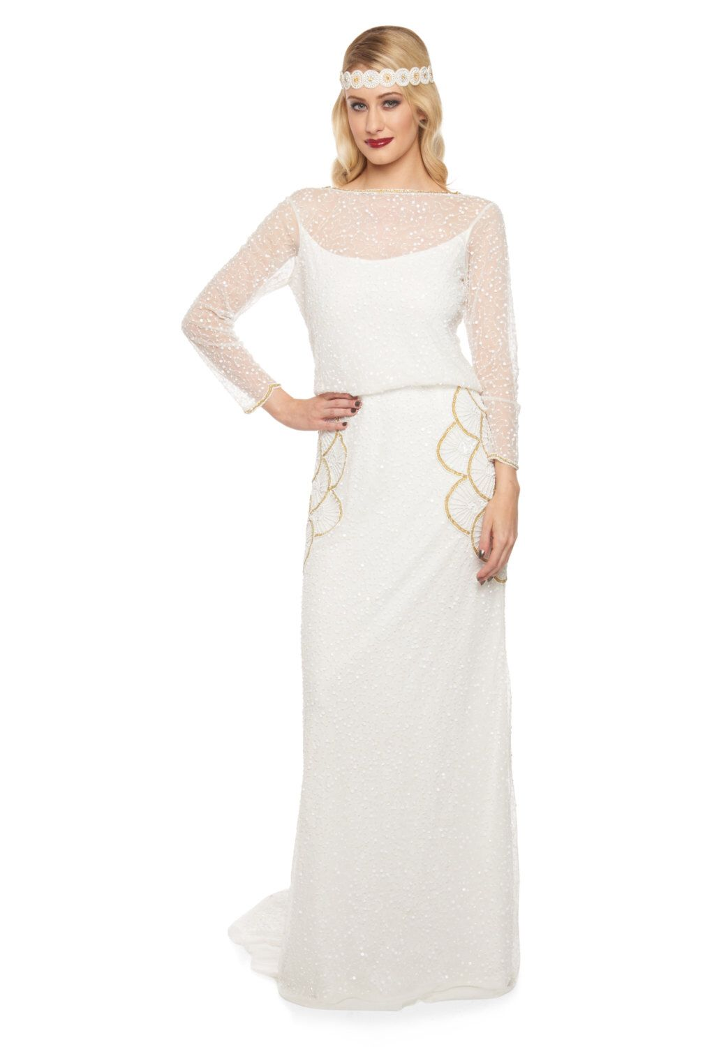 Plus Size White Gold Brooklyn Wedding Gown Prom Maxi Dress Sleeves ...