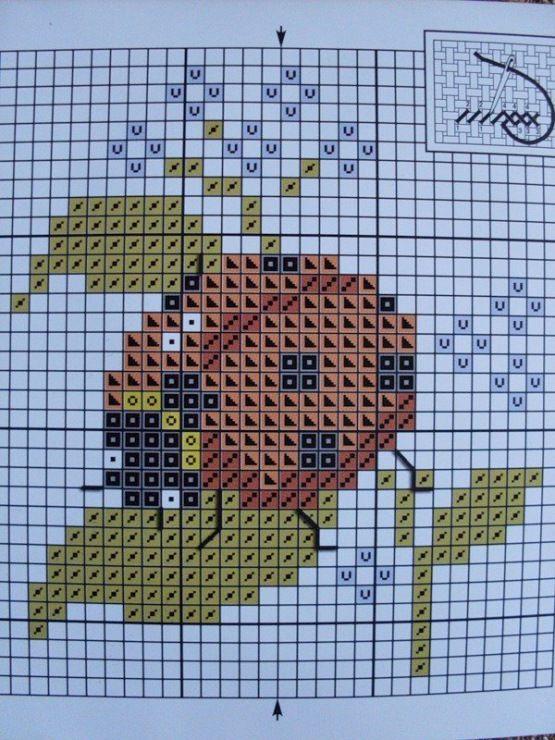 Cross stitch patterns free Ladybug on leaf with tiny blue flowers