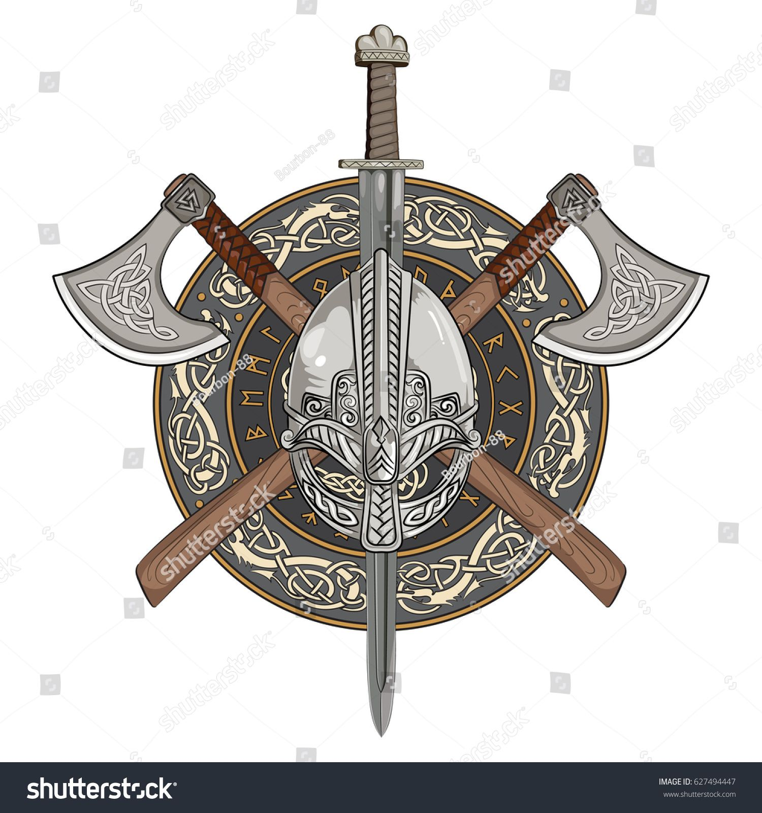 Viking Helmet Crossed Viking Axes And In A Wreath Of Scandinavian Pattern And Viking Shield Vector Illustration Viking Helmet Viking Shield Vikings