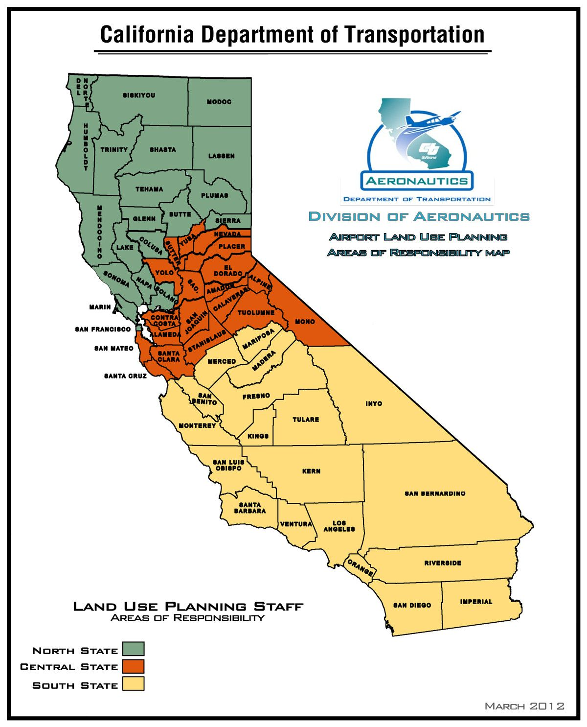 Caltrans map of California showing NorCal Central and SoCal