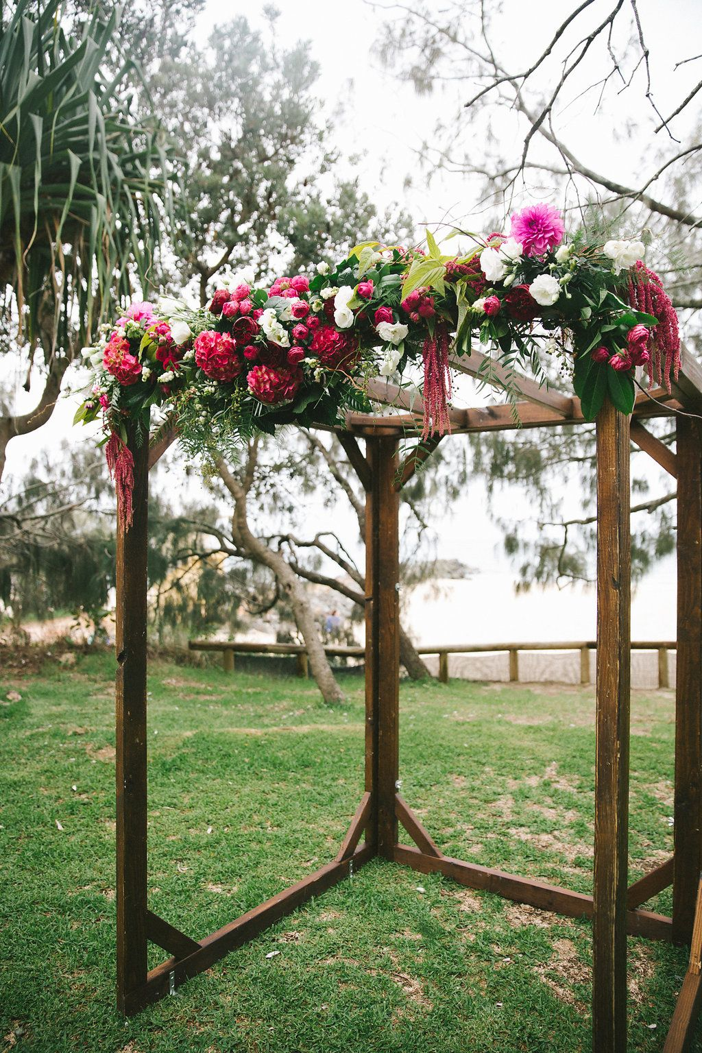 Bright canopy flowers including dahlias | I DO! | Wedding