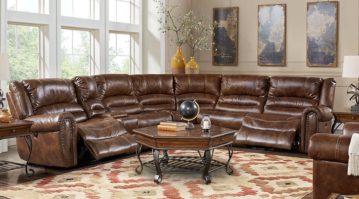 Tacoma Valley Brown 6 Pc Power Reclining Sectional Bonus