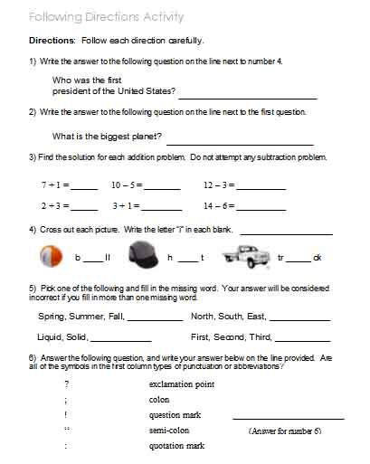 image relating to Following Directions Printable Activities named Soon after Guidelines Worksheets, Routines, Objectives, and
