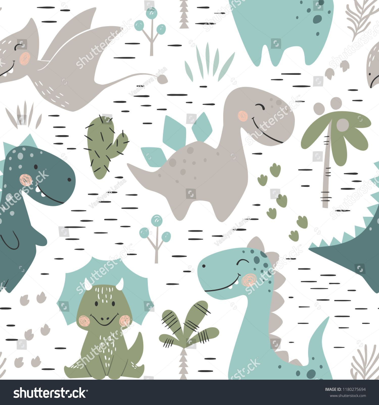 Dinosaur Baby Boy Seamless Pattern Sweet Dino With Palm And