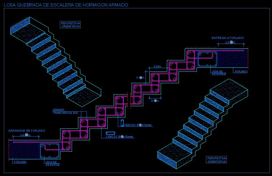 Escalera quebrada con losa maciza detalles losas for Encofrado de escaleras de concreto