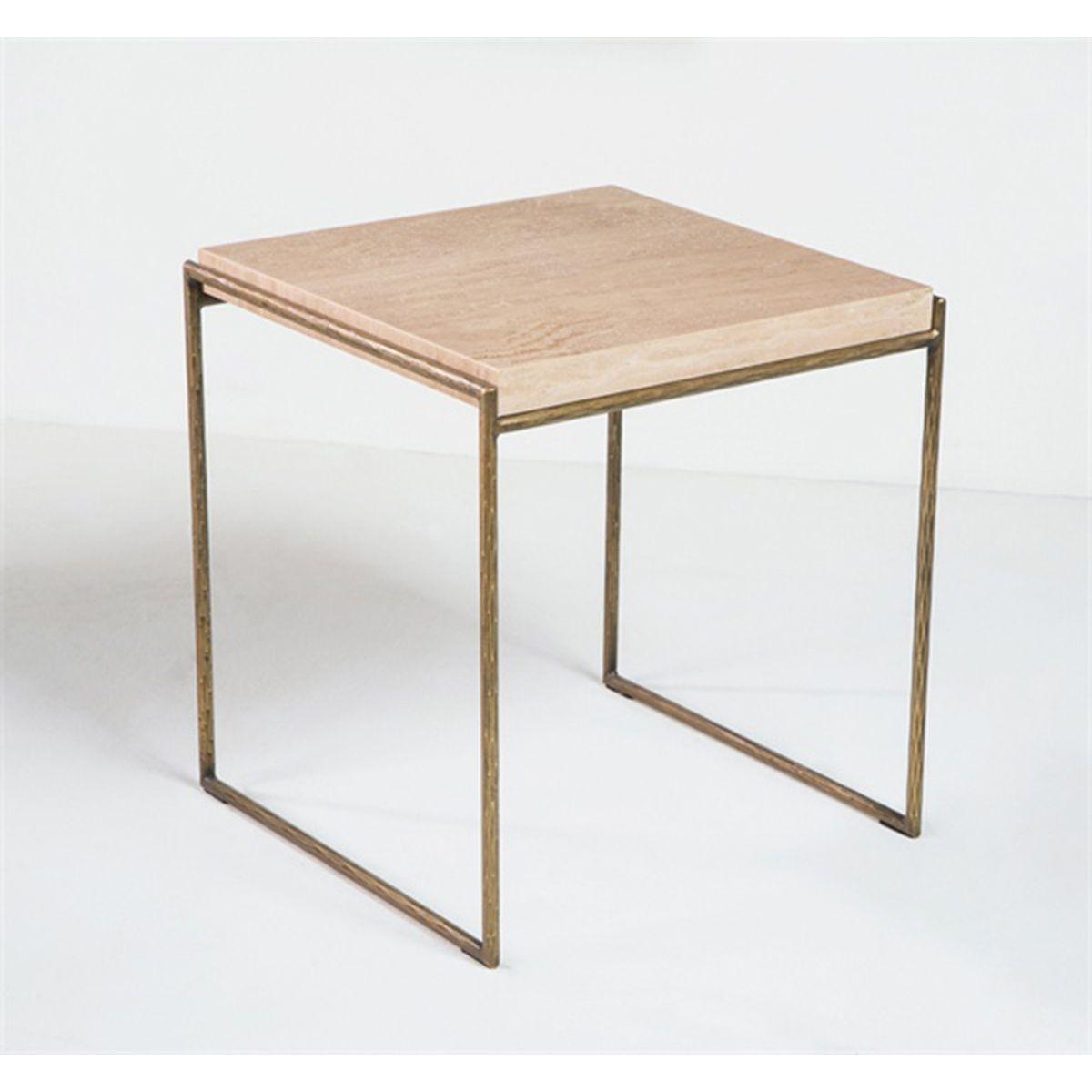 Interlude Home Mia Side Table - Travertine 158054