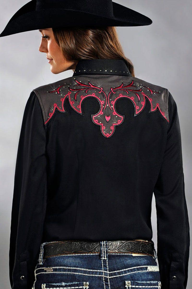 Download Panhandle Slim Women's Pink & Black Rodeo Shirt | Rodeo ...