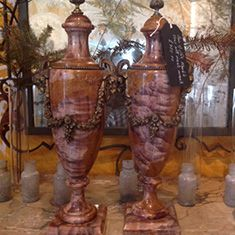 Beautiful Large Pair of Marble Cassolettes with Ormolu Mounts
