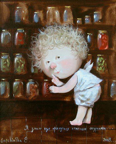 Я знаю где прячутся соленые огурчики....   Иллюстрации, Картины, Художники