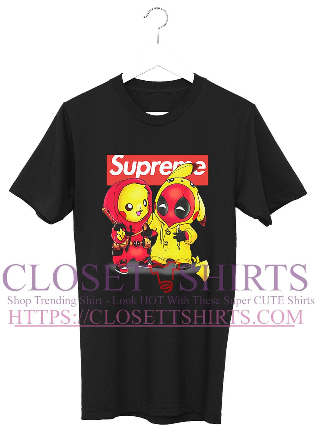 48a57abb Pikapool Pikachu Pokemon and Deadpool Supreme shirt | Hot Trending T ...