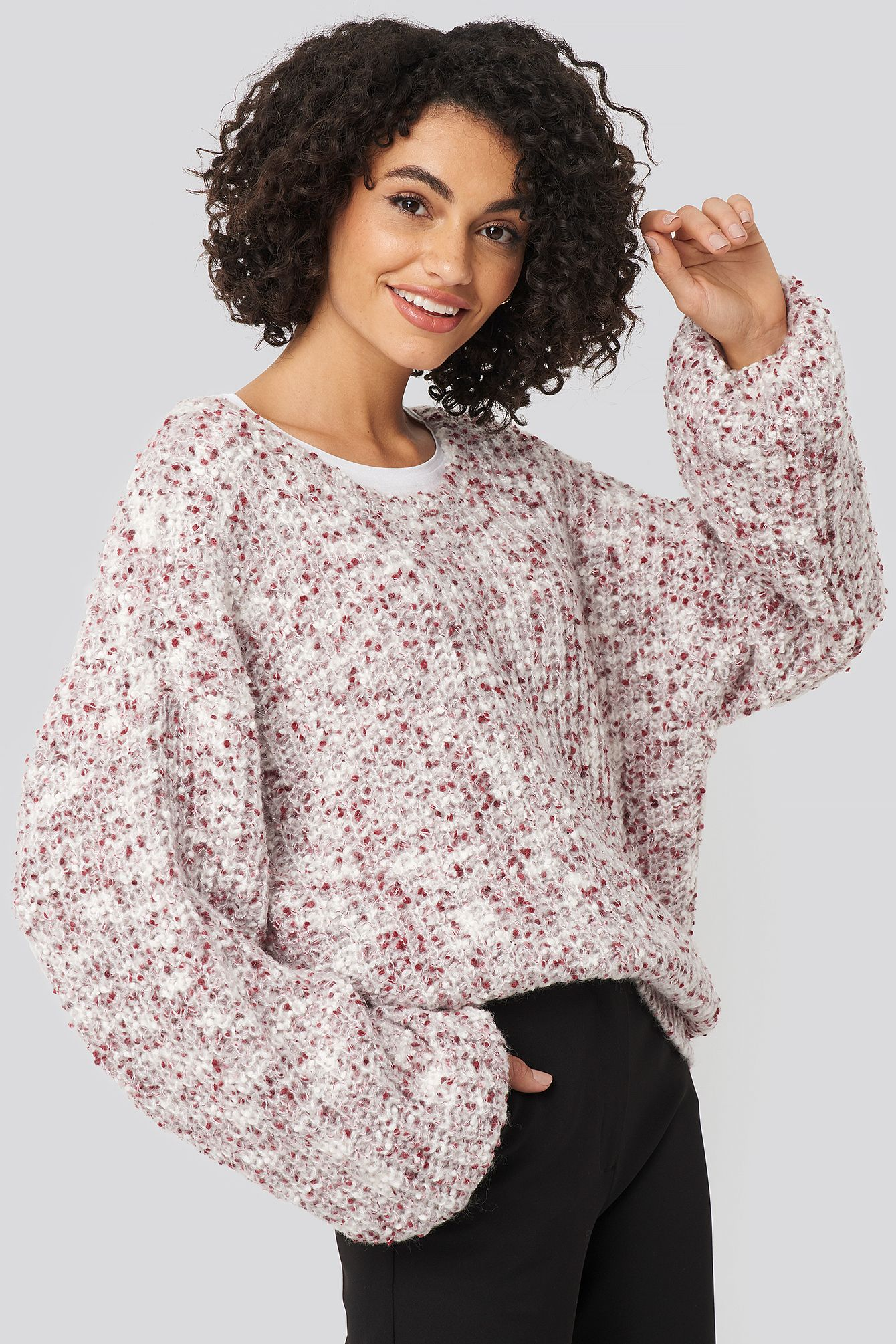 Deep Neck Melange Sweater Lila