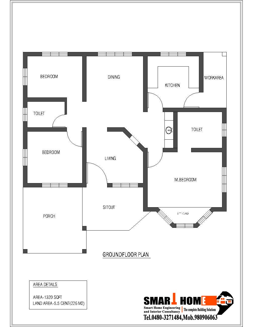 1320 sqft kerala style 3 bedroom house plan from smart for Three bedroom house plans kerala style