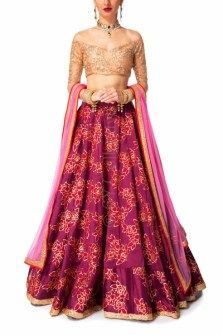 Wine Rose Lehenga with Floral Sequins